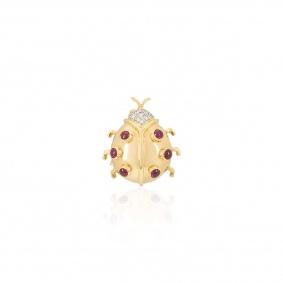 Yellow Gold Diamond and Ruby Ladybird Brooch